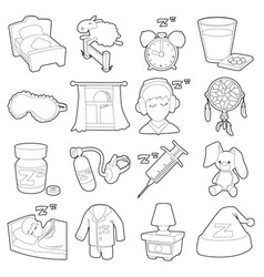Sleeping symbols icons set outline style vector