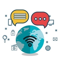 social media connected world icon media vector image