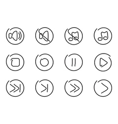 Sound multimedia icons vector