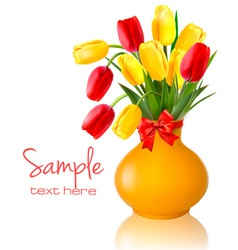 spring flowers vase vector image vector image
