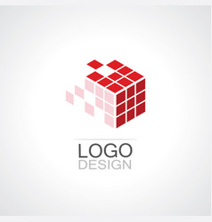 square box rubig technology logo vector image