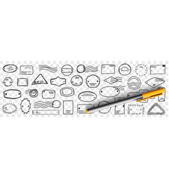 stamps and letters doodle set vector image