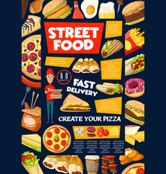 Street and fast food snacks menu delivery service vector
