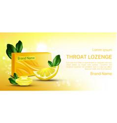 Throat lozenge lemon cough drops mock up banner vector