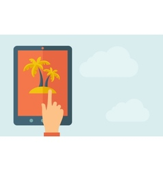 Touch screen tablet with palm tree icon vector