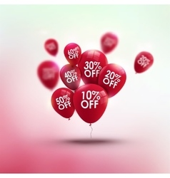 Trendy SALE background with red baloons and vector image