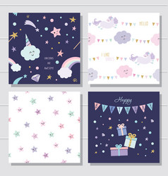 unicorn and stars cartoon seamless patterns and vector image