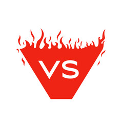 versus text and shape with fire frames red vector image vector image
