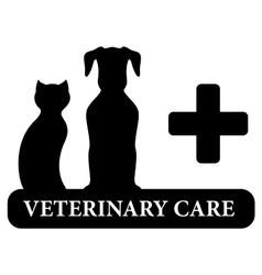 veterinary symbol with animal pet silhouette vector image