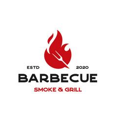 Vintage hipster barbecue fork fire logo design vector