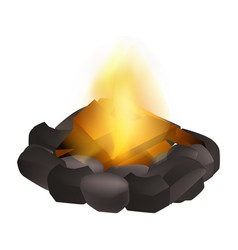 Wood campfire icon realistic style vector