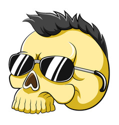 yellow dead head skull with punk hair and vector image