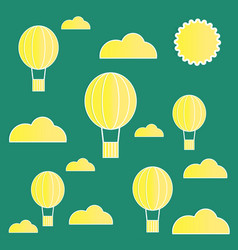 yellow paper balloons with clouds on green vector image