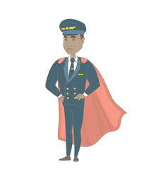 Young african-american pilot dressed as superhero vector