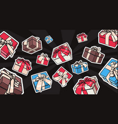 gift or present boxes set with bow and ribbon on vector image vector image