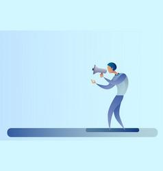 abstract business man hold megaphone loudspeaker vector image