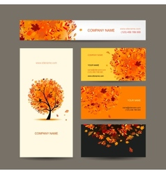 Business cards collection with autumn tree design vector image