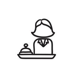 Female receptionist sketch icon vector
