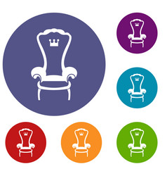 King throne chair icons set vector