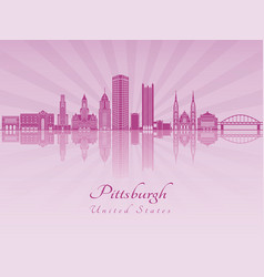 pittsburgh v2 skyline in purple radiant orchid vector image vector image