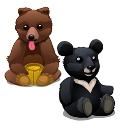 Brown and black soft toy bears isolated vector image