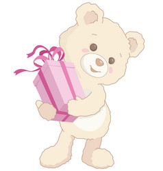 cute little teddy bear holding a pink present vector image vector image