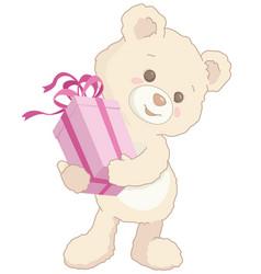 cute little teddy bear holding a pink present vector image