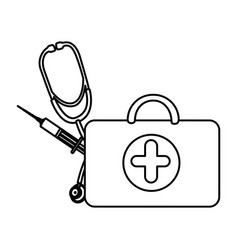 figure suitcase health with stethoscope and vector image vector image