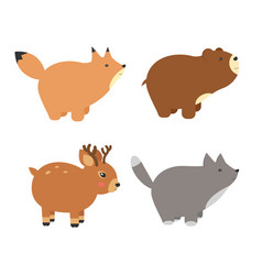 Forest animals set of icons and vector