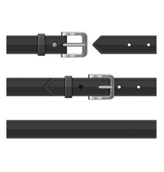seamless black leather belts set vector image vector image