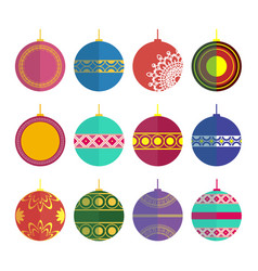 set of christmas toys in the style flat vector image vector image
