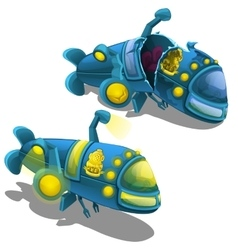 Submarine is in new condition and broken vector image vector image