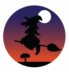 witch silhouette vector image vector image