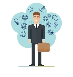 young businessman with suitcase vector image vector image
