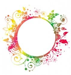 floral round frame 2 v vector image vector image
