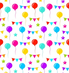 Seamless Texture with Bunting Party Flags Balloons vector image vector image