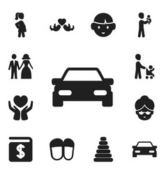 Set of 12 editable relatives icons includes vector