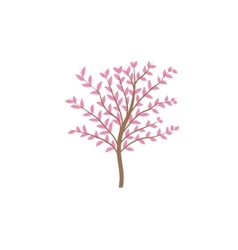 The thin trunk of the tree with leaves logo vector image vector image