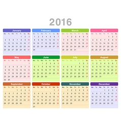 2016 year annual calendar vector image