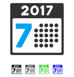 2017 year 7th day flat icon vector image