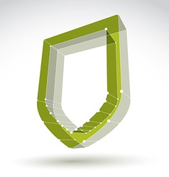 3d mesh web green security icon isolated on white vector image