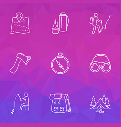 activity icons line style set with binoculars vector image