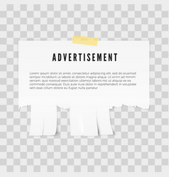 Advertisement tear-off paper template with copy vector