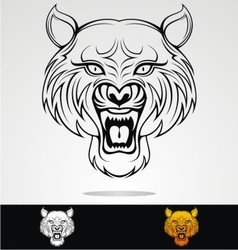 Angry Tiger Head Tribal vector image
