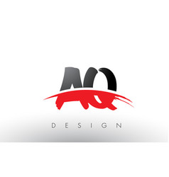 Aq a q brush logo letters with red and black vector