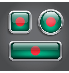 Bangladesh flag glass buttons vector image