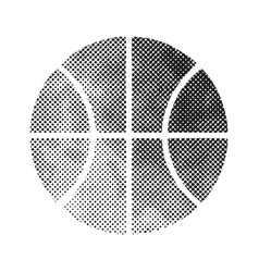 basket ball icon in halftone style black vector image