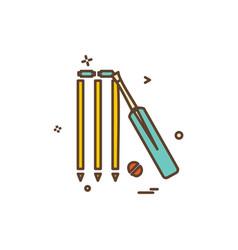 bat ball wicket cricket icon design vector image