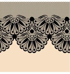 Black flower lace border on beige background vector