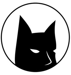 Black mask on white batman round logo vector